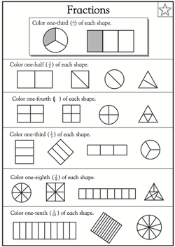 math worksheet : first grade  math 202 final semester project : First Grade Fraction Worksheets
